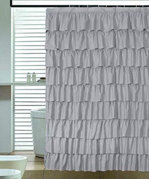 Ameritex Ruffle Shower Curtain Home Decor Soft Polyester Decorative Bathroom Accessories Great For Showers Bathtubs Large Size72 X 72 0 300x360
