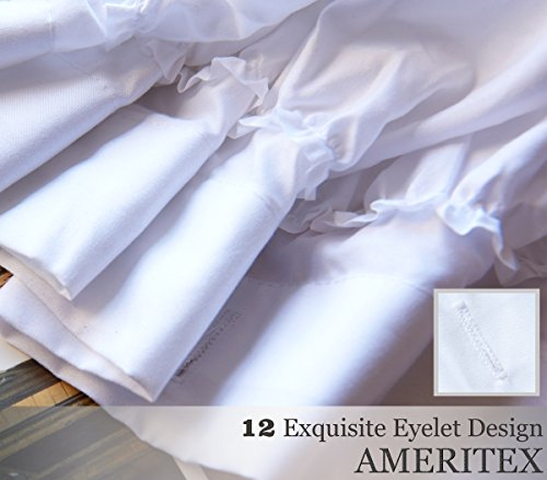 Ameritex Ruffle Shower Curtain Home Decor Soft Polyester Decorative Bathroom Accessories Great For Showers Bathtubs White72 X 72 0 2