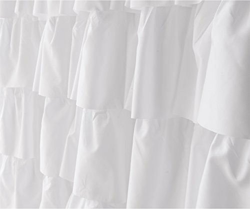 Ameritex Ruffle Shower Curtain Home Decor Soft Polyester Decorative Bathroom Accessories Great For Showers Bathtubs White72 X 72 0 3