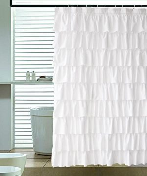 Ameritex Ruffle Shower Curtain Home Decor Soft Polyester Decorative Bathroom Accessories Great For Showers Bathtubs White72 X 72 0 300x360