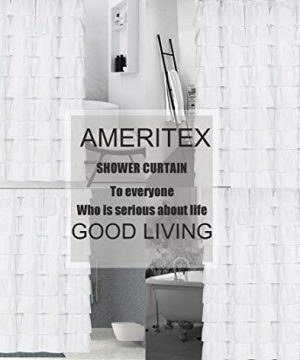 Ameritex Ruffle Shower Curtain Home Decor Soft Polyester Decorative Bathroom Accessories Great For Showers Bathtubs White72 X 72 0 4 300x360