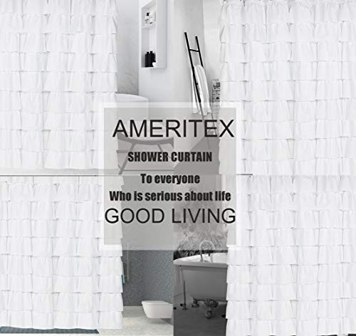 Ameritex Ruffle Shower Curtain Home Decor Soft Polyester Decorative Bathroom Accessories Great For Showers Bathtubs White72 X 72 0 4