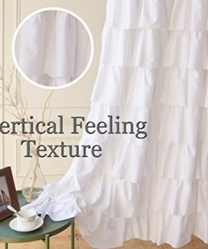 Ameritex Ruffle Shower Curtain Home Decor Soft Polyester Decorative Bathroom Accessories Great For Showers Bathtubs White72 X 72 0 5 300x360