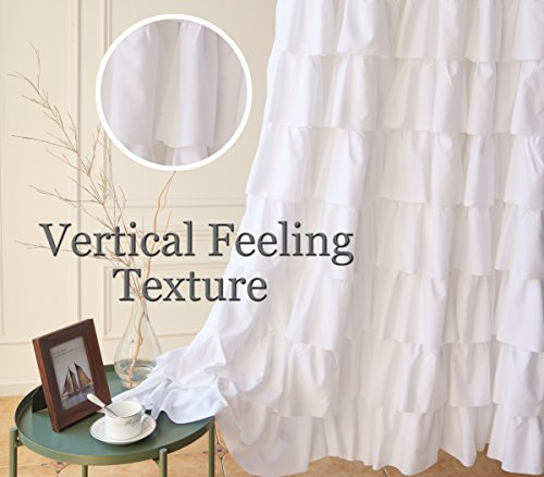 Ameritex Ruffle Shower Curtain Home Decor Soft Polyester Decorative Bathroom Accessories Great For Showers Bathtubs White72 X 72 0 5