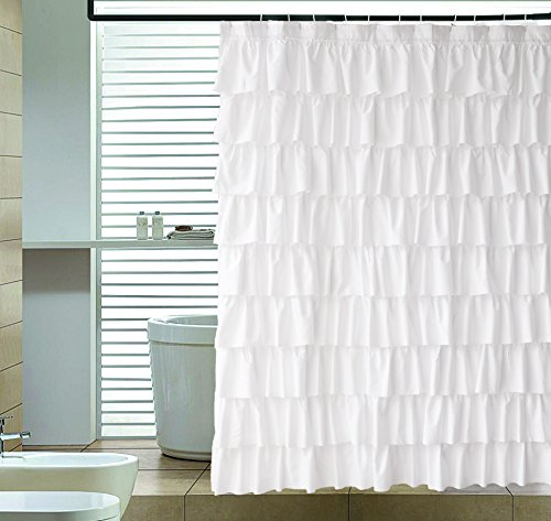Ameritex Ruffle Shower Curtain Home Decor Soft Polyester Decorative Bathroom Accessories Great For Showers Bathtubs White72 X 72 0