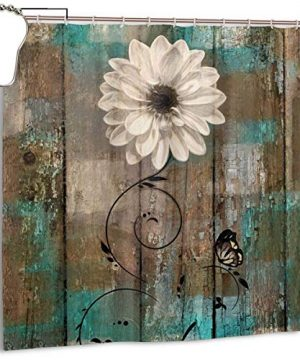 Amonee YL Rustic Floral Butterfly White Flower Teal Brown Vintage Polyester Fabric Shower Curtain Sets With 12 HooksModern Bathroom Home Decor 0 300x360