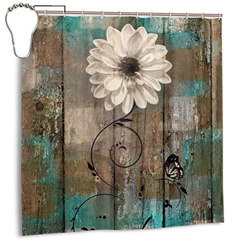 Shower Curtain Black White Stripes Butterfly Flower Floral Bathroom Decor New