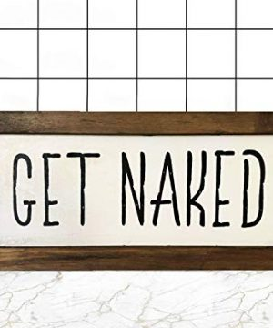 Amugo Rustic Bathroom Get Naked Sign Bathroom Decor Wood Sign Farmhouse Bathroom Wall Hanging 0 300x360