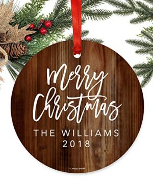 Andaz Press Fully Personalized Metal Christmas Ornament Merry Christmas Rustic Wood 1 Pack Includes Ribbon And Gift Bag Custom Name 0 0 300x360