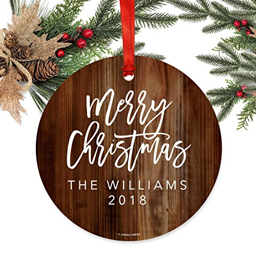Andaz Press Fully Personalized Metal Christmas Ornament Merry Christmas Rustic Wood 1 Pack Includes Ribbon And Gift Bag Custom Name 0 0