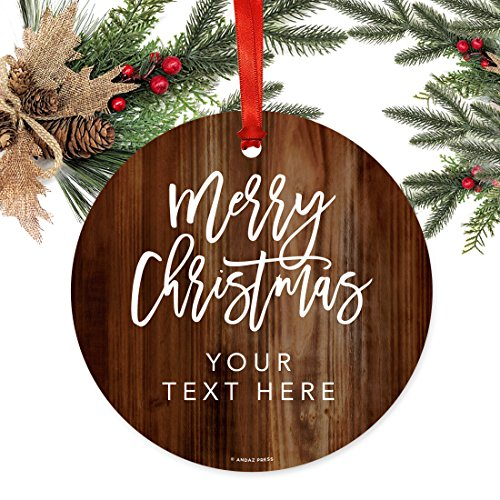 Andaz Press Fully Personalized Metal Christmas Ornament Merry Christmas Rustic Wood 1 Pack Includes Ribbon And Gift Bag Custom Name 0 1