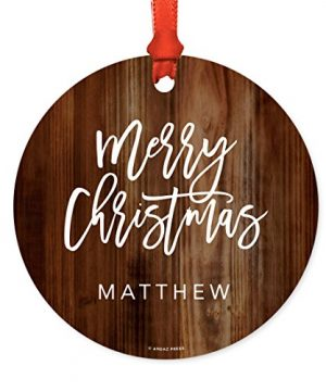 Andaz Press Fully Personalized Metal Christmas Ornament Merry Christmas Rustic Wood 1 Pack Includes Ribbon And Gift Bag Custom Name 0 300x360