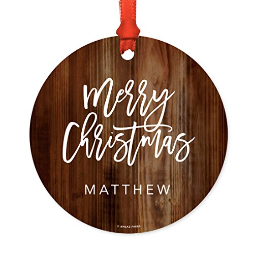 Andaz Press Fully Personalized Metal Christmas Ornament Merry Christmas Rustic Wood 1 Pack Includes Ribbon And Gift Bag Custom Name 0