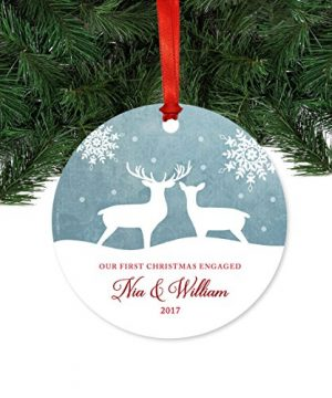 Andaz Press Personalized Family Metal Christmas Ornament Our First Christmas Engaged Nia William 2019 Rustic Deer Winter Snowflakes 1 Pack Includes Ribbon And Gift Bag Custom Name 0 0 300x360