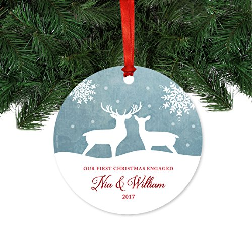 Andaz Press Personalized Family Metal Christmas Ornament Our First Christmas Engaged Nia William 2019 Rustic Deer Winter Snowflakes 1 Pack Includes Ribbon And Gift Bag Custom Name 0 0