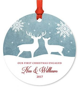 Andaz Press Personalized Family Metal Christmas Ornament Our First Christmas Engaged Nia William 2019 Rustic Deer Winter Snowflakes 1 Pack Includes Ribbon And Gift Bag Custom Name 0 300x360