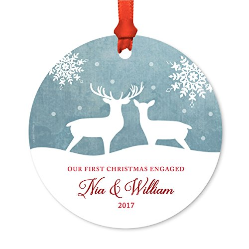 Andaz Press Personalized Family Metal Christmas Ornament Our First Christmas Engaged Nia William 2019 Rustic Deer Winter Snowflakes 1 Pack Includes Ribbon And Gift Bag Custom Name 0