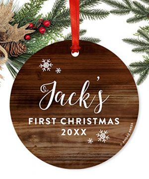 Andaz Press Personalized Round Metal Christmas Ornament Babys First Christmas 2019 Rustic Wood 1 Pack Includes Ribbon And Gift Bag Baby Shower Decorations Custom Name Year 0 0 300x360