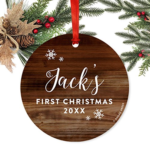 Andaz Press Personalized Round Metal Christmas Ornament Babys First Christmas 2019 Rustic Wood 1 Pack Includes Ribbon And Gift Bag Baby Shower Decorations Custom Name Year 0 0