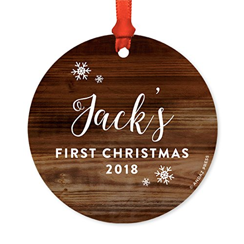 Andaz Press Personalized Round Metal Christmas Ornament Babys First Christmas 2019 Rustic Wood 1 Pack Includes Ribbon And Gift Bag Baby Shower Decorations Custom Name Year 0 1