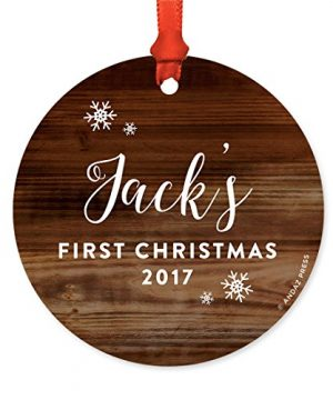 Andaz Press Personalized Round Metal Christmas Ornament Babys First Christmas 2019 Rustic Wood 1 Pack Includes Ribbon And Gift Bag Baby Shower Decorations Custom Name Year 0 300x360