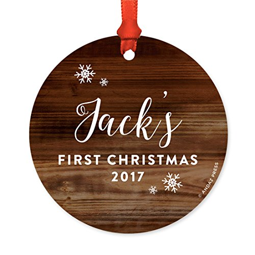 Andaz Press Personalized Round Metal Christmas Ornament Babys First Christmas 2019 Rustic Wood 1 Pack Includes Ribbon And Gift Bag Baby Shower Decorations Custom Name Year 0