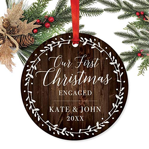 Andaz Press Personalized Wedding Engagement Metal Christmas Ornament Our First Christmas Engaged Kate John 2019 Rustic Wood Florals 1 Pack Includes Ribbon And Gift Bag Custom Name 0 0