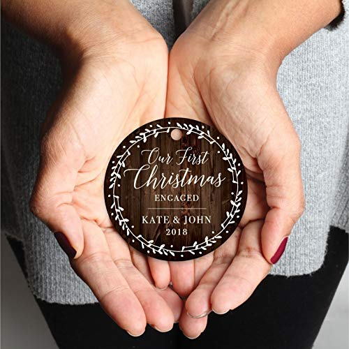 Andaz Press Personalized Wedding Engagement Metal Christmas Ornament Our First Christmas Engaged Kate John 2019 Rustic Wood Florals 1 Pack Includes Ribbon And Gift Bag Custom Name 0 1