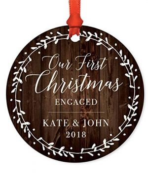 Andaz Press Personalized Wedding Engagement Metal Christmas Ornament Our First Christmas Engaged Kate John 2019 Rustic Wood Florals 1 Pack Includes Ribbon And Gift Bag Custom Name 0 300x360