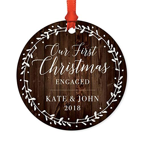 Andaz Press Personalized Wedding Engagement Metal Christmas Ornament Our First Christmas Engaged Kate John 2019 Rustic Wood Florals 1 Pack Includes Ribbon And Gift Bag Custom Name 0