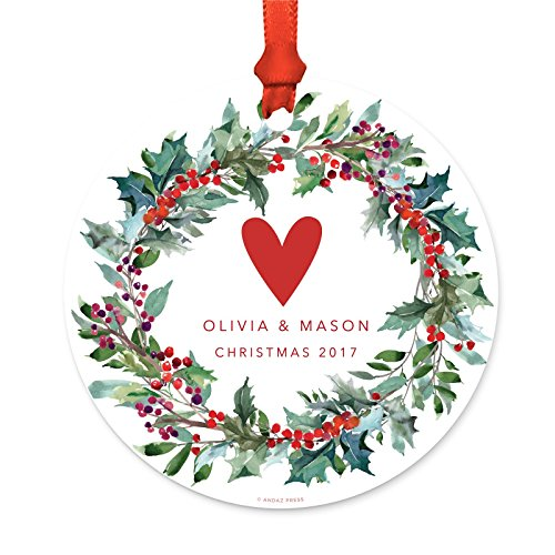 Andaz Press Wedding Anniversary Metal Christmas Ornament 1 Year Together Christmas 2019 Rustic Wood Snow Shining Ball Lights 1 Pack Includes Ribbon And Gift Bag 0