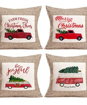 Aremetop-Pack-of-4-Rustic-Frame-Xmas-Red-Truck-with-Christmas-Tree-Throw-Pillow-Covers-Cotton-Linen-Winter-Farmhouse-Decorative-Cushion-Cover-with-Christmas-Blessings-Quotes-18x18-Pillow-Cases-0