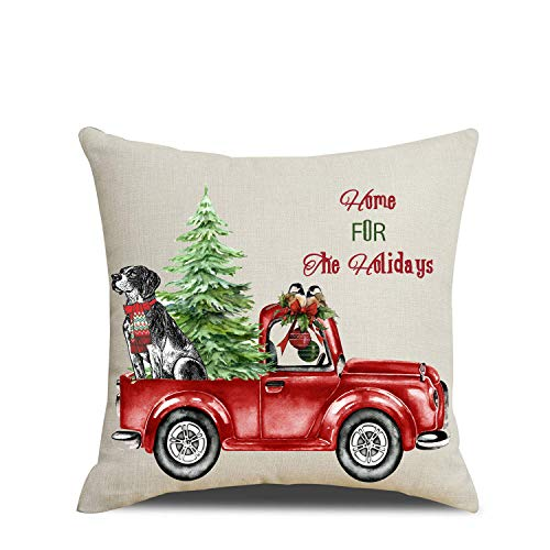 Artmag 18x18 Christmas Throw Pillow Covers Decorative Outdoor Farmhouse Merry Christmas Xmas Christmas Tree Pillow Shams Cases Slipcovers Set Of 4 For Couch Sofa 0 0