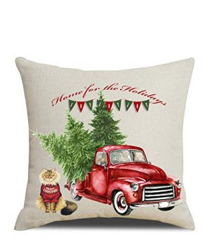 Artmag 18x18 Christmas Throw Pillow Covers Decorative Outdoor Farmhouse Merry Christmas Xmas Christmas Tree Pillow Shams Cases Slipcovers Set Of 4 For Couch Sofa 0 1 300x360