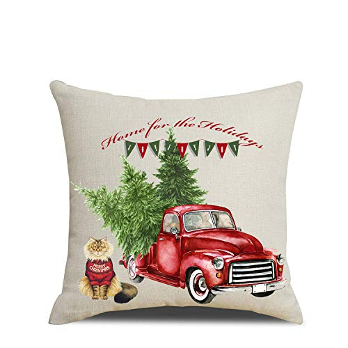 Artmag 18x18 Christmas Throw Pillow Covers Decorative Outdoor Farmhouse Merry Christmas Xmas Christmas Tree Pillow Shams Cases Slipcovers Set Of 4 For Couch Sofa 0 1