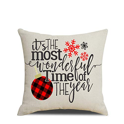 Artmag 18x18 Christmas Throw Pillow Covers Decorative Outdoor Farmhouse Merry Christmas Xmas Christmas Tree Pillow Shams Cases Slipcovers Set Of 4 For Couch Sofa 0 3