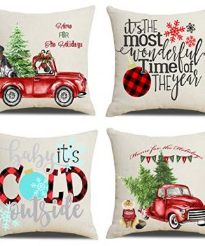 Artmag 18x18 Christmas Throw Pillow Covers Decorative Outdoor Farmhouse Merry Christmas Xmas Christmas Tree Pillow Shams Cases Slipcovers Set Of 4 For Couch Sofa 0 300x360