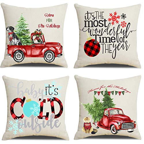 Artmag 18x18 Christmas Throw Pillow Covers Decorative Outdoor Farmhouse Merry Christmas Xmas Christmas Tree Pillow Shams Cases Slipcovers Set Of 4 For Couch Sofa 0