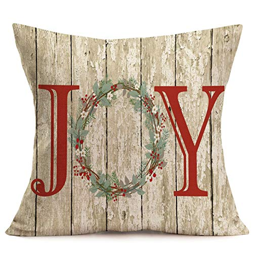 Asamour Xmas Vintage Wood Home Decor Pillowcase Christmas Letter With Beautiful Wreath Decorative Throw Pillow Case Cushion Cover 18x18 Set Of 4Red TruckChristmas Tree 4 Pack Vintage Wood Xmas 0 0