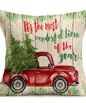 Asamour Xmas Vintage Wood Home Decor Pillowcase Christmas Letter With Beautiful Wreath Decorative Throw Pillow Case Cushion Cover 18x18 Set Of 4Red TruckChristmas Tree 4 Pack Vintage Wood Xmas 0 1 300x360
