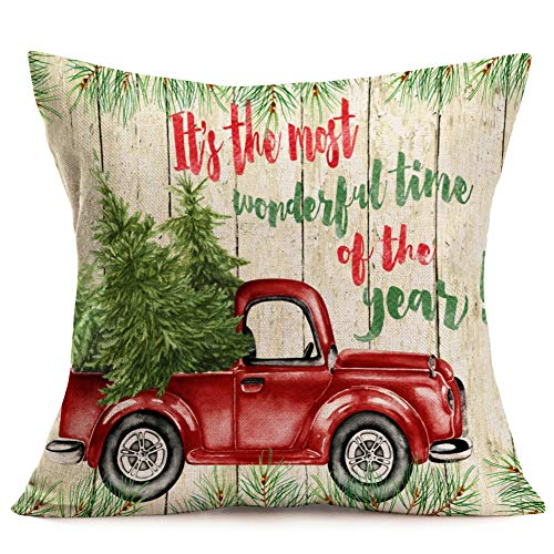 Asamour Xmas Vintage Wood Home Decor Pillowcase Christmas Letter With Beautiful Wreath Decorative Throw Pillow Case Cushion Cover 18x18 Set Of 4Red TruckChristmas Tree 4 Pack Vintage Wood Xmas 0 1