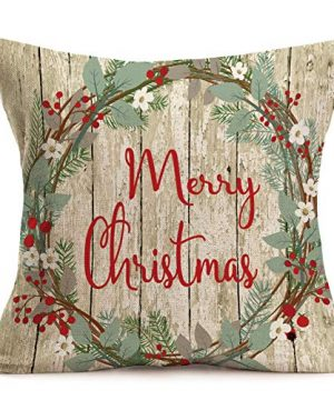 Asamour Xmas Vintage Wood Home Decor Pillowcase Christmas Letter With Beautiful Wreath Decorative Throw Pillow Case Cushion Cover 18x18 Set Of 4Red TruckChristmas Tree 4 Pack Vintage Wood Xmas 0 2 300x360
