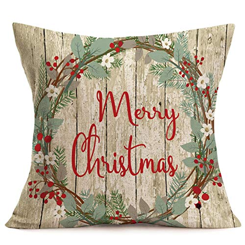 Asamour Xmas Vintage Wood Home Decor Pillowcase Christmas Letter With Beautiful Wreath Decorative Throw Pillow Case Cushion Cover 18x18 Set Of 4Red TruckChristmas Tree 4 Pack Vintage Wood Xmas 0 2