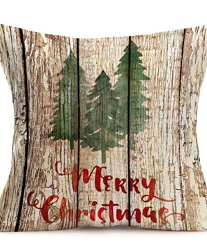Asamour Xmas Vintage Wood Home Decor Pillowcase Christmas Letter With Beautiful Wreath Decorative Throw Pillow Case Cushion Cover 18x18 Set Of 4Red TruckChristmas Tree 4 Pack Vintage Wood Xmas 0 3 300x360