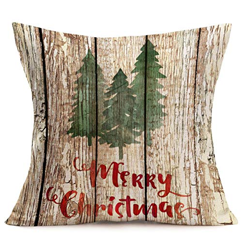 Asamour Xmas Vintage Wood Home Decor Pillowcase Christmas Letter With Beautiful Wreath Decorative Throw Pillow Case Cushion Cover 18x18 Set Of 4Red TruckChristmas Tree 4 Pack Vintage Wood Xmas 0 3