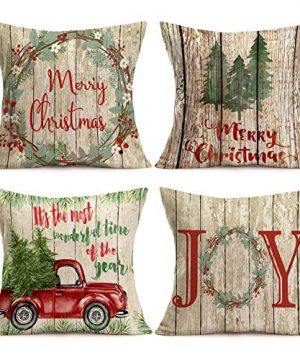 Asamour Xmas Vintage Wood Home Decor Pillowcase Christmas Letter With Beautiful Wreath Decorative Throw Pillow Case Cushion Cover 18x18 Set Of 4Red TruckChristmas Tree 4 Pack Vintage Wood Xmas 0 300x360