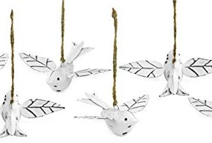 AuldHome Vintage Distressed White Bird Decorations Set Of 6 Metal Hanging Ornaments For Easter Tree Christmas And Seasonal Decor 0 300x203