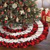 Aytai 48 Inch Red Black Burlap Ruffled Christmas Tree Skirt 6 Layers Red And Black Buffalo Check Christmas Tree Skirt For Christmas Decorations 0 100x100