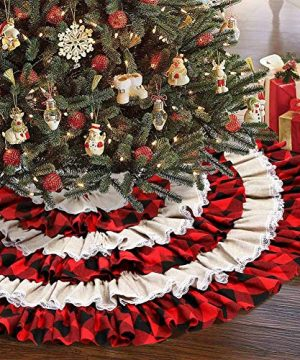 Aytai 48 Inch Red Black Burlap Ruffled Christmas Tree Skirt 6 Layers Red And Black Buffalo Check Christmas Tree Skirt For Christmas Decorations 0 300x360
