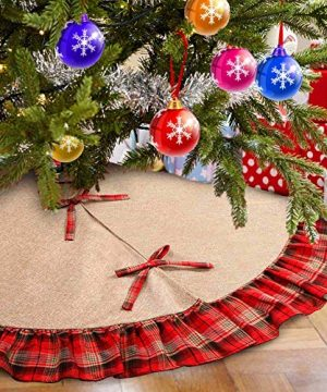 Aytai 48inch Plaid Christmas Tree Skirts Red And Black Edge Burlap Tree Skirt For Holiday Christmas Decorations 0 300x360